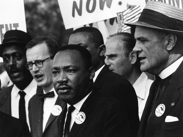 Rowland Scherman, Martin Luther King Jr. e Mathew Ahmann, Marcia per i Diritti Civili, 28 agosto 1963, Washington, D.C., USA