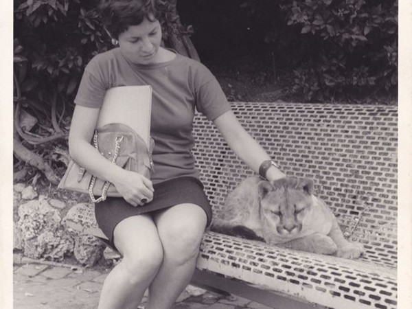 Simone sitting with a Lion Cub, Bioparco di Roma, 1968