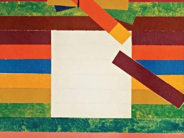 Aldo Mondino, Viola in libertà, 1966-1972, olio su tela con interventi a matita grigia, 100 x 90 cm. Collezione Intesa Sanpaolo