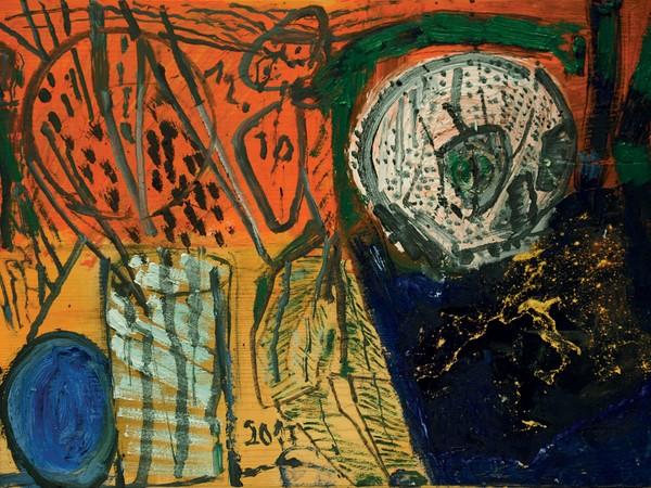 Renzo Ferrari, Stilleben, notturno d'Europa, 2017, olio su tavola, 28x38.5 cm.
