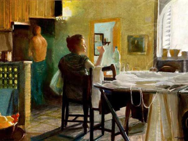 Americo Mazzotta, Il Quotidiano, olio su tela, 60x91 cm.