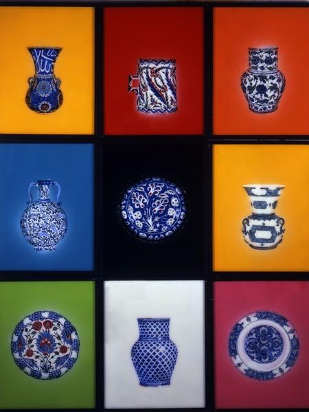 Aldo Mondino, Iznik, 2000, olio su vetro, 9 pz. cm 50x40x6 cad