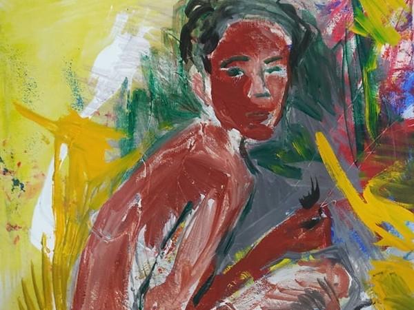 Vincenzo Mascoli, n.58 n.1di 3 di-segno, 2021, tecnica mista su tela, trittico, 50x70 cm cm.