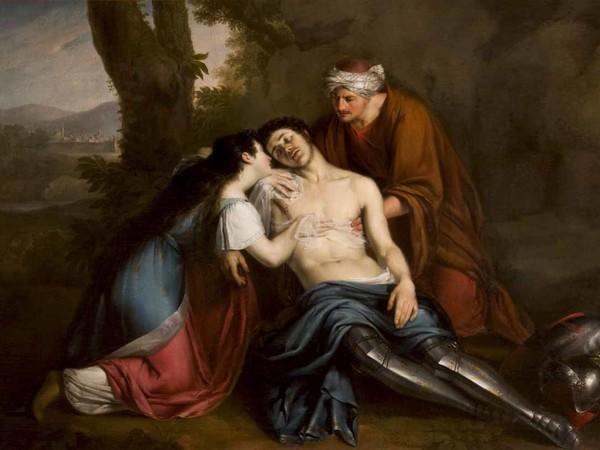 Michelangelo Grigoletti, Erminia assistita da Vafrinio fascia le ferite a Tancredi, 1826. Olio su tela, 160x225 cm. Trieste, Museo Civico Sartorio