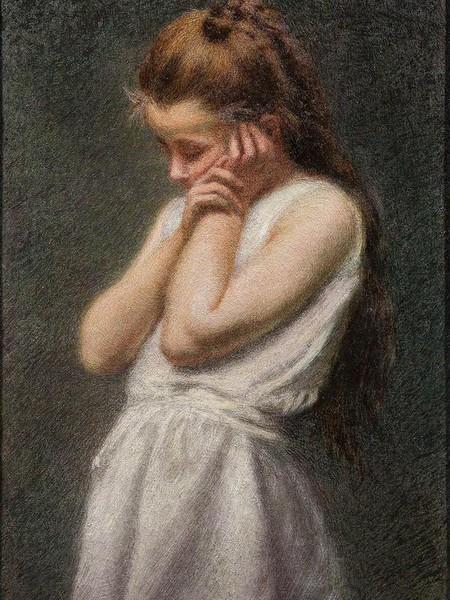 Angelo Morbelli, Meditazione, olio su tela, 80x55 cm, Collezione privata