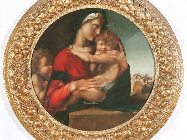 Alonso Berruguete, Madonna col Bambino e san Giovannino (Tondo Loeser) 1513-1514. Olio su tavola. Firenze, Palazzo Vecchio, Collezione Loeser
