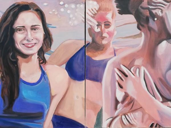 Diego Testolin, Ciclo Dee al contemporaneo, Giulia come Venere che esce dalle acque, olio su tela, cm. 100x200