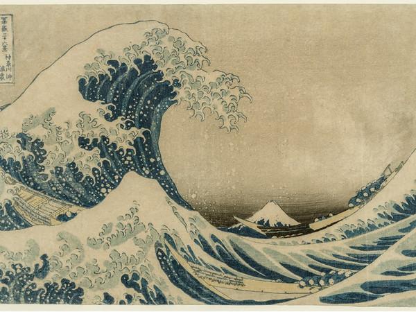 Katsushika Hokusai, Under the Wave off Kanagawa (Kanagawa-oki nami-ura), also known as the Great Wave, from the series Thirty-six Views of Mount Fuji (Fugaku sanjūrokkei). Woodblock print; ink and color on paper, 23.8x36.6 cm.