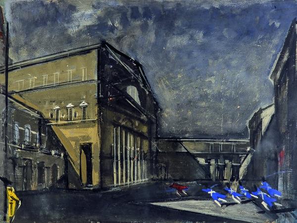 Carlo Mattioli, Il Teatro Regio, tecnica mista su carta. Collezione privata