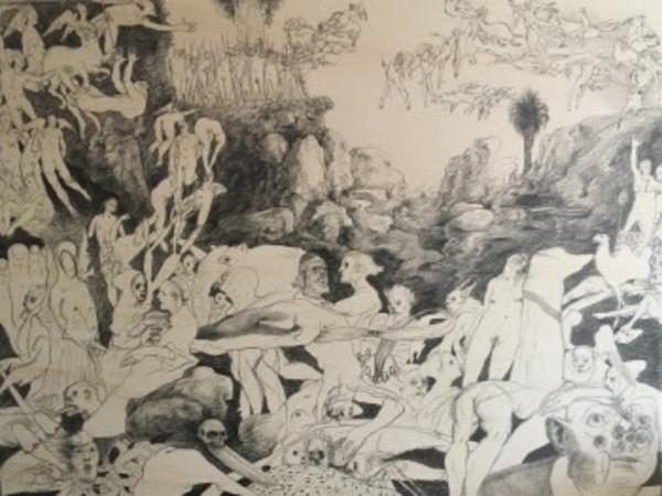 Simone Stuto, Campestre, 2020, grafite su tavola, cm. 60x80