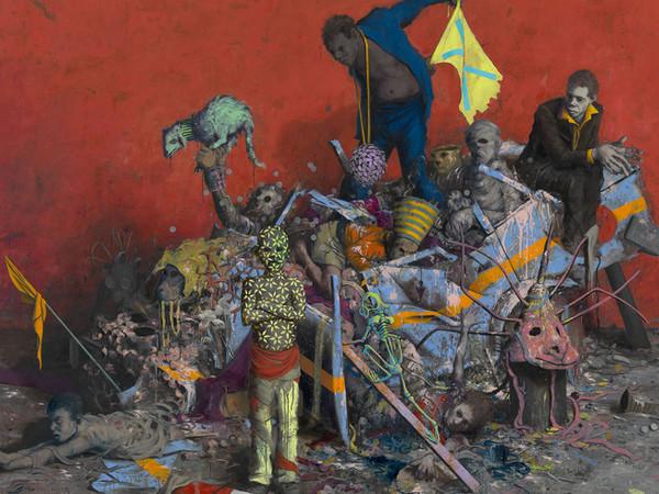 Jonas Burgert, Stückfrass, 2013, olio su tela, 240 x 300 cm
