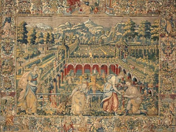 Raccolta delle offerte per la dea Pomona, manifattura di Bruxelles (marca BB), XVI-XVII sec.