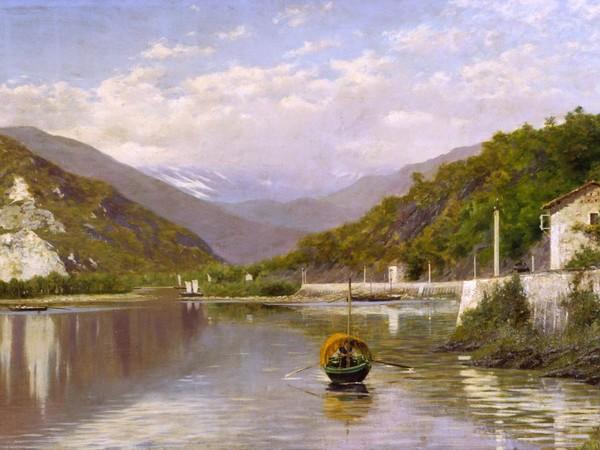 Francesco Gnecchi, Fondo Toce (Lago Maggiore) o Il Sempione dal Lago Maggiore, 1884, olio su tela, cm. 75,5x149. Gallerie d'Italia
