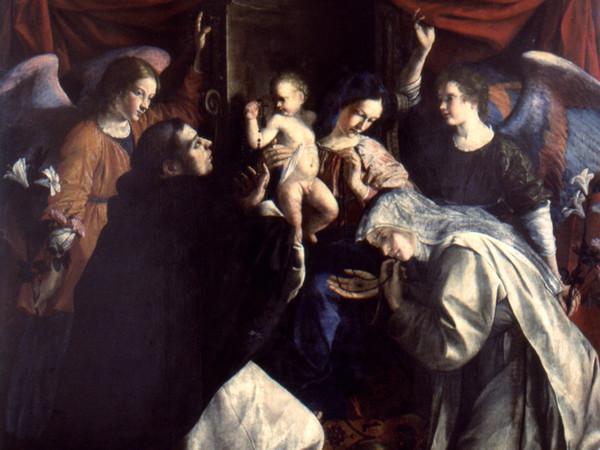 """Orazio Gentileschi, <em>Madonna del Rosario</em>,1613-1617, Olio su tela, 201 x 293 cm, Pinacoteca civica """"B.Molajoli"""", Fabriano"""