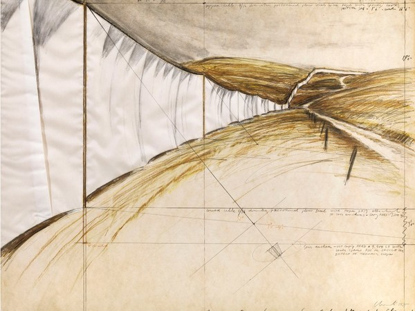 Christo, Running Fence (project for Sonoma County and Marin County, California), 1975, tecnica mista e tessuto su cartone, cm. 56x71