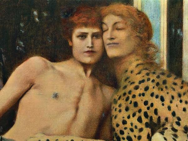 Fernand Khnopff, <em>Carezze (L&rsquo;Arte)</em>, 1896, Olio su tela, 50,5 x 151 cm, Bruxelles, Mus&eacute;es Royaux des Beaux‐Arts de Belgique inv. 6767 | &copy; Royal Museums of Fine Arts of Belgium, Brussels / foto J. Geleyns