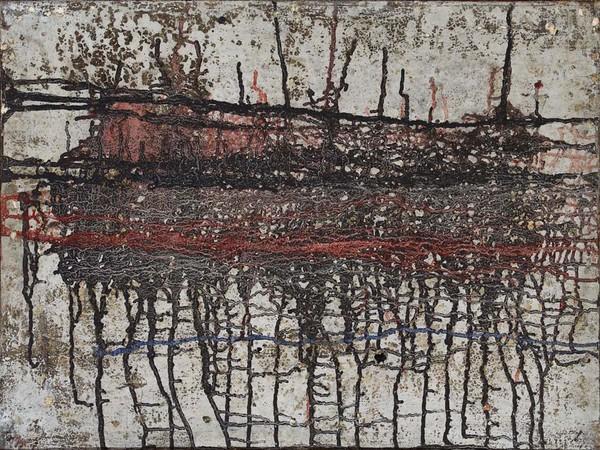 Gastone Biggi, Tempi - L'alba di un'immagine, 1960. Tempera e gesso su tela, 60 x 80 cm. Fondazione Gastone Biggi