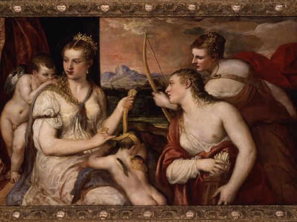 Tiziano, <em>Venere che benda Amore</em>, 1565 ca., olio su tela, 118 x 185 cm. Roma, Galleria Borghese
