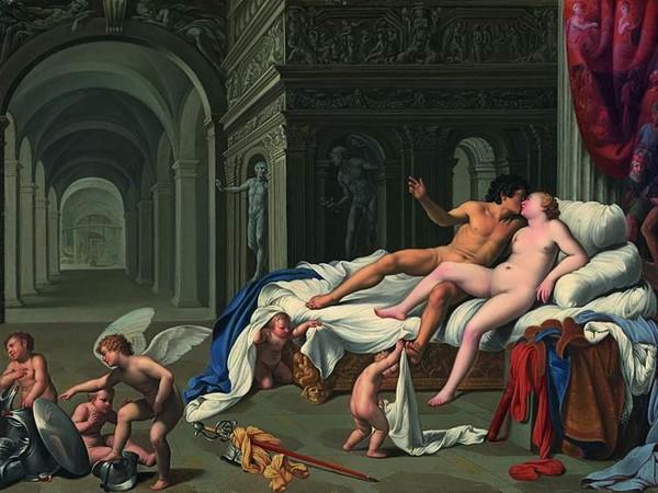 Carlo Saraceni, Venere e Marte.Olio su rame, cm 39,5 x 55. Madrid, Carmen Thyssen -Bornemisza. Collection, on loan Thyssen –Bornemisza Museum <br />