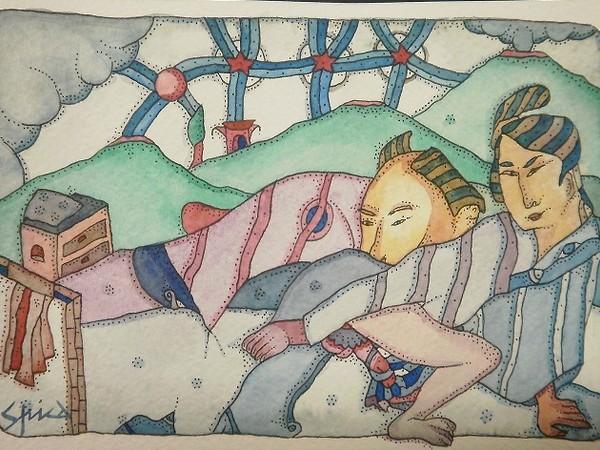 Pietro Spica. Euroshunga - EroSpica, Acquarello su carta, cm. 12,5 x 18