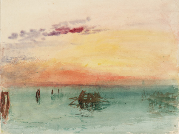 Joseph Mallord William Turner, <em>Venice: Looking across the Lagoon at Sunset</em>, 1840, Acquerello su carta, 304 x 244 mm, Tate, Accepted by the nation as part of the Turner Bequest 1856 | Courtesy of Chiostro del Bramante 2018