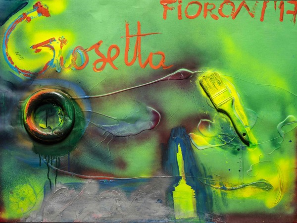 Fioroni Giosetta, Dipingere, 2017, tecnica mista e collage su carta-cm. 100x70