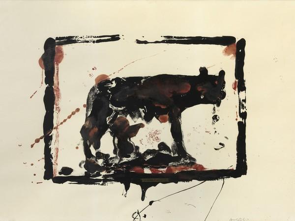 Franco Angeli, Lupa, 1965, tecnica mista su carta, cm. 70x100