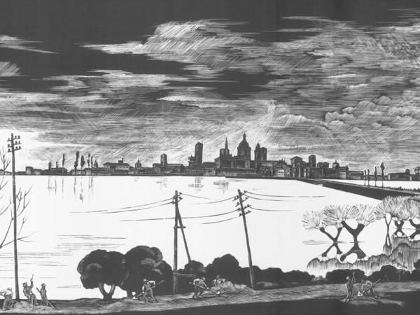 Mimì Quilici Buzzacchi, <em>Mantova, il Lago di Virgilio</em>, 1936, Particolare, Xilografia