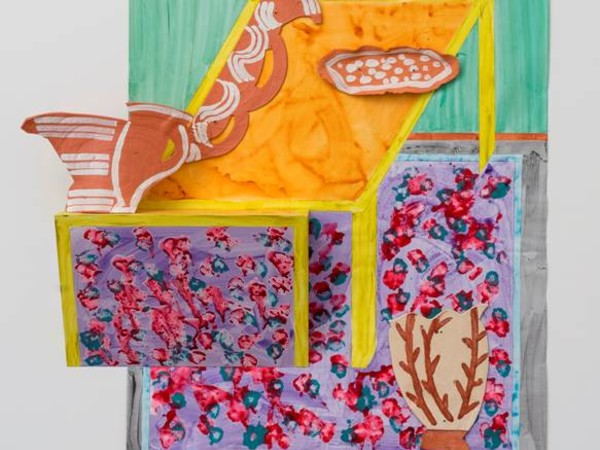 <span lang=&quot;EN-GB&quot;>Betty Woodman,</span><em><span lang=&quot;EN-GB&quot;> Table and Rug,&nbsp;</span></em><span lang=&quot;EN-GB&quot;>2016,&nbsp;</span><span lang=&quot;EN-GB&quot;>ceramic and paint on canvas</span><span lang=&quot;EN-US&quot;>, 180x157x30 cm.</span>