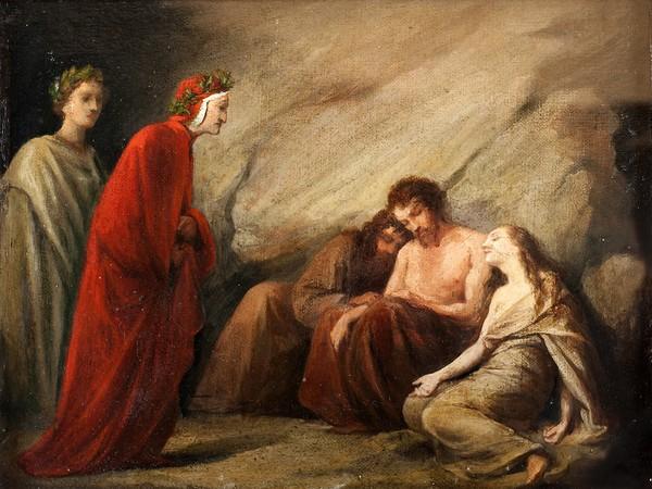 Adeodato Malatesta, Dante incontra Sapìa nel Purgatorio, 1839 ca. Olio su tela, cm. 26,5x33,5. Modena, collezione privata
