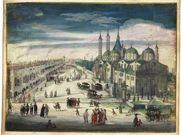 Anonimo, Basilica del Santo [XVII secolo], Acquarello su carta, mm. 130x163. Complesso Antoniano