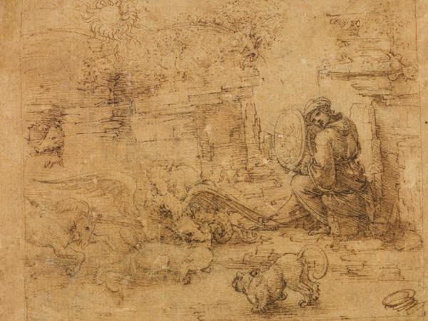 Leonardo da Vinci,<em> Allegoria dello specchio solare</em>, 1490-1494 circa, Penna e inchiostro, 12.4 x 10.4 cm, Parigi, Musée du Louvre, Département des Arts graphiques   Foto: © RMN-Grand Palais (Musée du Louvre) / Michel Urtado
