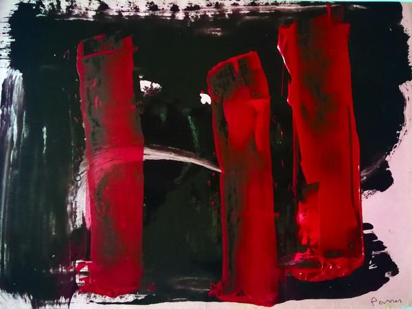 Opera di Alberto Parres, olio su carta, 2018, 25x35 cm.