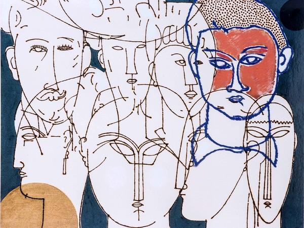 Concetto Pozzati, Omaggio a Modigliani, pirografia, olio e smalto su tela, cm. 40x50