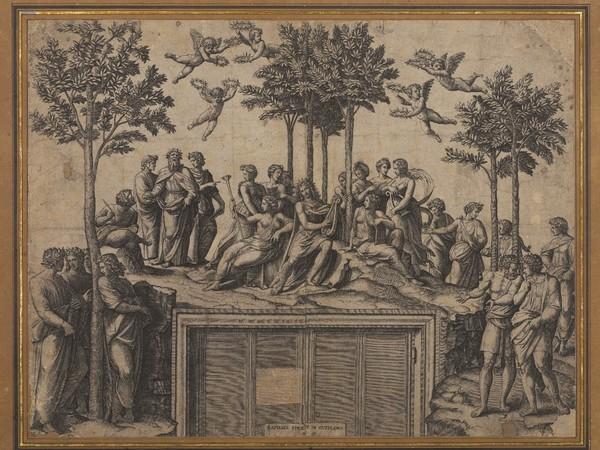 Marcantonio Raimondi, Il Parnaso (da Raffaello), primo quarto XVI sec. Incisione a bulino Milano, Castello Sforzesco, Raccolta Bertarelli, Deposito Museo Poldi Pezzoli