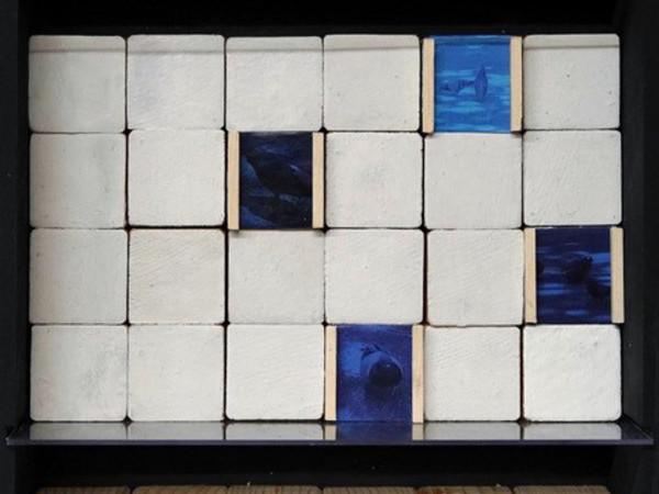 Cristina Materassi, Storyboard, 2021, assemblage e collage su tavola, 33x28 cm.