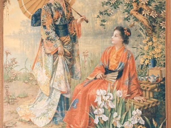 O'Tama Kiyohara, Due Geishe, arazzo dipinto. Collezione privata, Palermo