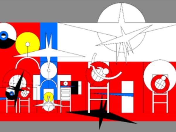 Adi Da Samraj, La Discesa Spirituale della Bicicletta Si Trasforma in Seconda Nascita del Volo: Sesta Parte – VII, da Orfeo Uno 2007, 2015. Lacca su alluminio, 196 x 302 cm
