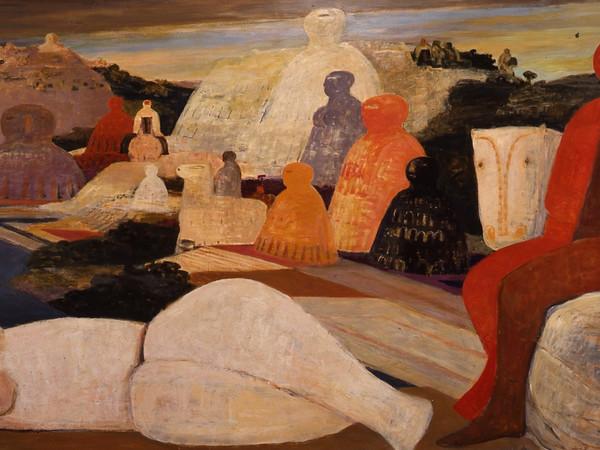 Salvatore Fiume, Il raduno delle statue, olio su masonite, cm. 170x345