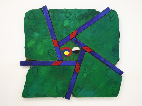 Joe Tilson, Dyonison Prassinos, 1987, olio su tela su legno, cm. 145x155