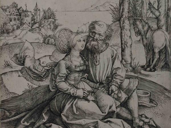 Albrecht Dürer, Giuda e Tamar (La richiesta d'amore), 1495 circa, Incisione a bulino, 139 x 150 mm | Courtesy © Musei Civici di Bassano