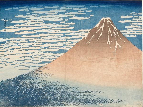 Katsushika Hokusai, <em>Giornata limpida col vento del sud (o Fuji Rosso)</em>, Dalla serie <em>Trentasei vedute del monte Fuji</em>, 1830-1832 circa, Silografia policroma | Courtesy of Kawasaki Isago no Sato Museum