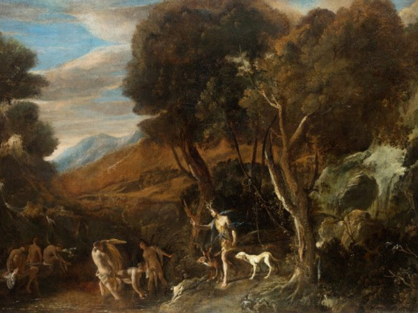 Domenico Gargiulo, detto Micco Spadaro, <em>Atteone Si Trasforma in Cervo</em>, olio su tela, cm 123x175<br />