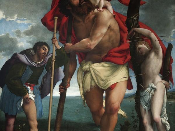 Lorenzo Lotto,&nbsp;<em>San Cristoforo tra i Santi Rocco e Sebastiano.&nbsp;</em>Loreto, Museo - Antico Tesoro della Santa Casa,&nbsp;circa 1532-1533, olio su tela, cm 275x240