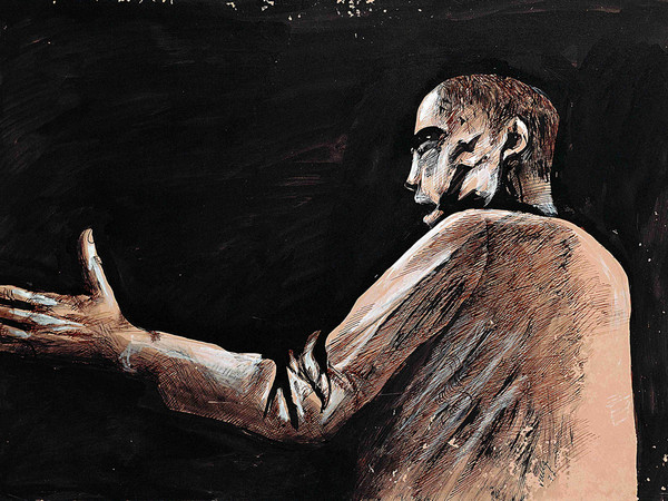 Giuliano Vangi, Studio di figura, 1977. Tecnica mista su carta, 48x 69,5 cm