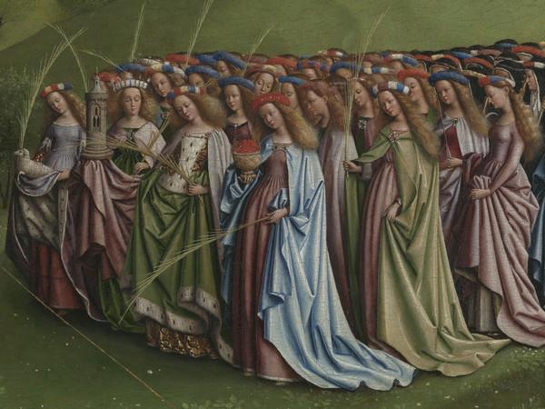 Jan e Hubert van Eyck, L'Adorazione dell'Agnello Mistico, 1432, Dettaglio del pannello centrale della Pala d'altare di Gand aperta conil corteo di sante, Dopo il restauro, Olio su tavola, Gand, Cattedrale di San Bavone | Courtesy of Saint-Bavo's Cathedral Ghent © Lukasweb.be-Art in Flanders vzw | Photo: KIK-IRPA