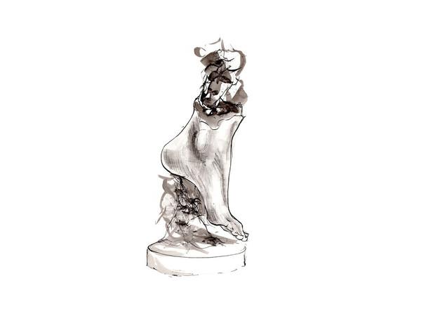 Valentina Lucarini Orejon, Piede, 2019, china e acquerello su carta, cm. 30×21
