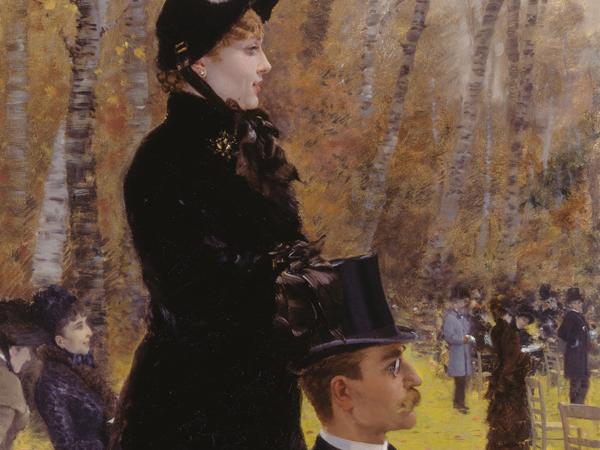 Giuseppe De Nittis, Alle corse di Auteil (Sulla seggiola), 1883, olio su tela, 107,5 x 57 cm. Barletta, Pinacoteca Comunale Giuseppe de Nittis