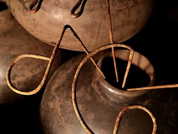 Rudy Pulcinelli, Bíos, 2018, installazione site specific, vasi di ferro e filo di ferro cotto, dimensioni variabili, particolare