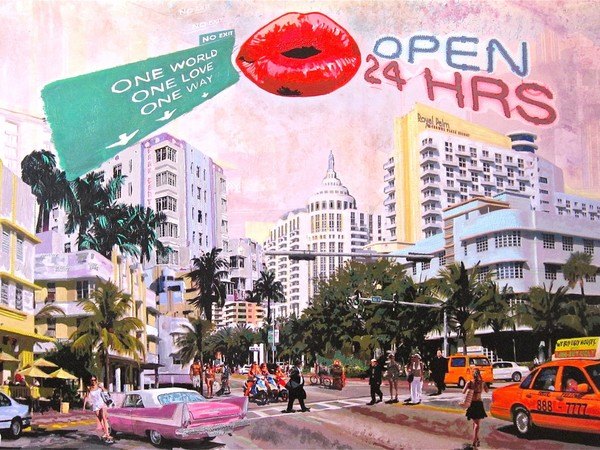 Lyn'S, No Exit Open 24, 2017, mixed-media, 162x114 cm. Cosmopolitan gallery, Miami